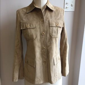 Theory Suede Button down Shirt Jacket beige